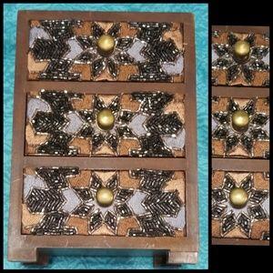 VTG Wood Beaded Jewelry Box